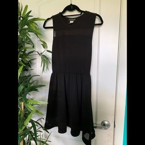 Black Short Dress with See Through Accents